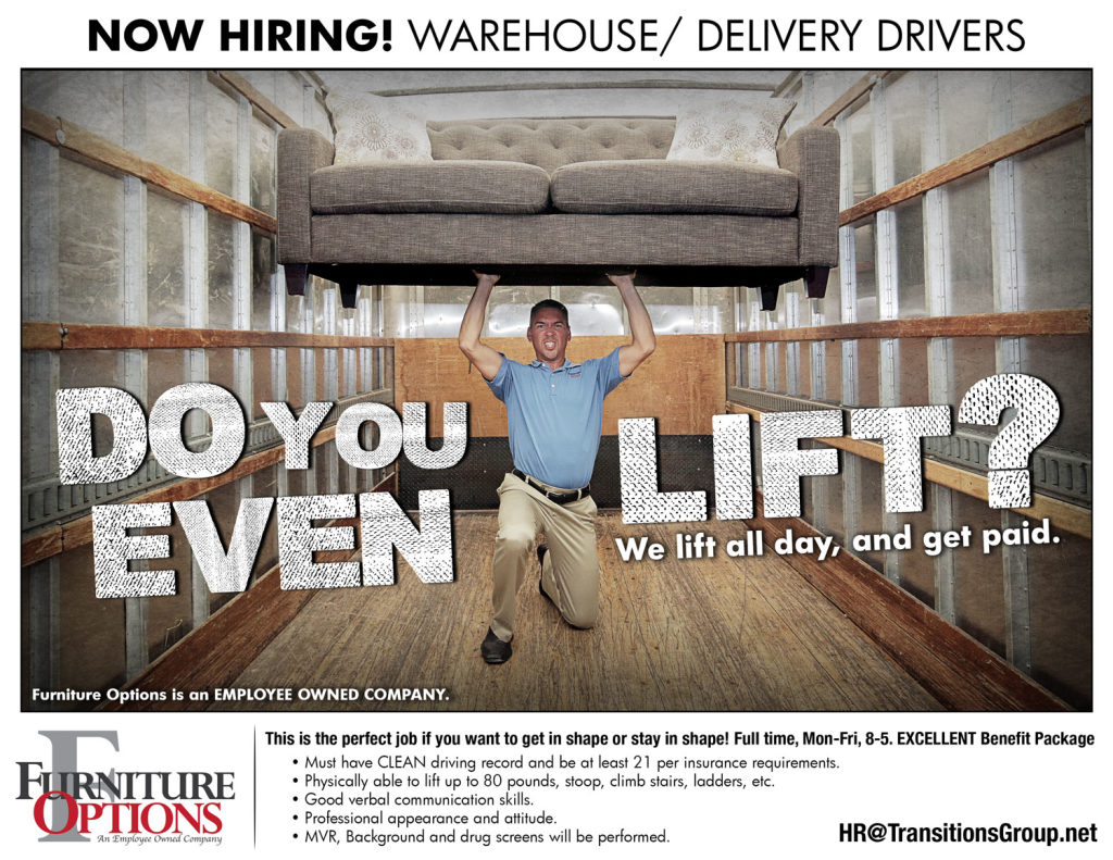 Now hiring! Warehouse/Delivery Drivers